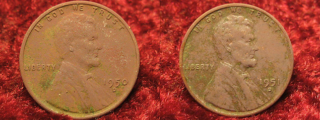 1950 & 1951 Wheat Pennies