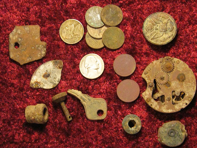 WWII Button, Pocket Watch, Eclipse Headstamp, Couple of Wheaties, and Some Clad